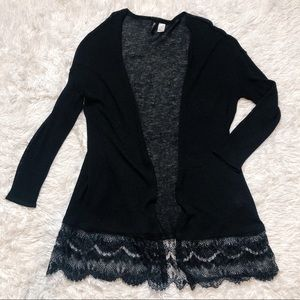 H&M long black cardigan with lace hem L